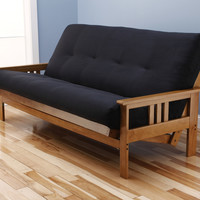 Andover Full Size Futon Sofa Bed, Honey Oak Wood Frame, Suede Innerspring Mattress, Black