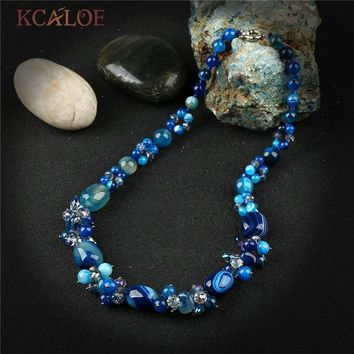 KCALOE Handmade Blue Semi-Precious Stones Crystal Pendant Necklace Jewelry Colares Vintage Charms Natural Stone Women Necklaces