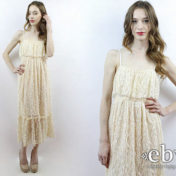 Lace Midi Dress Cream Lace Dress Hippie Wedding Dress Hippy Wedding Dress Beach Wedding Vintage Wedding 70s Dress 1970s Bohemian Dress XS S