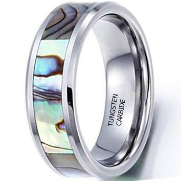CERTIFIED 8mm Tungsten Carbide Ring Vintage Abalone Shell Inlay Wedding Engagement Promise Band