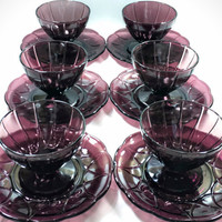 "Depression Glass (Set of 7) Purple Dessert Dishes with 6"" Underplates"
