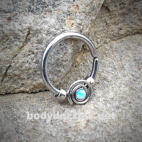 White Bendable Septum/Cartilage Hoop Ring with Opal Set Spiral 16ga
