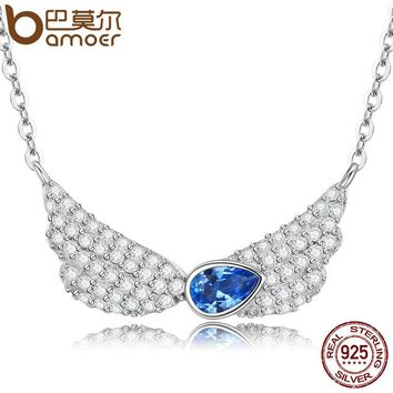 100% 925 Sterling Silver Blue Crystal Feather Wings Pendant Necklace Women Sterling Silver Jewelry Collares SCN128