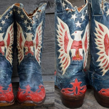 Vintage 1940's Custom American Flag Stewart Romero Rockabilly Leather Western Cowboy Distressed Boots