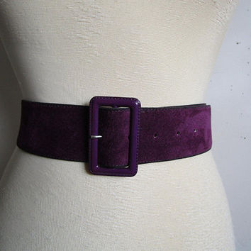 Dark Purple 80s Suede Belt Vintage Alta Moda Soft Flexible Leather 1980s Italian Leather Belt Ceinture en Daim LRG