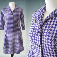 1960s Plus Size Dress Purple Houndstooth