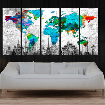 large world map push pin canvas print, travel world map with country name, extra large wall art canvas print turquoise gray No:9S80