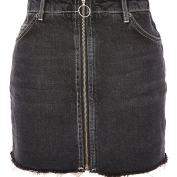 MOTO Zip A-Line Denim Skirt - Skirts - Clothing
