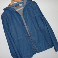 vintage Hooded Zip Denim Jean Jacket M