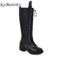 Motorcycle Boots Lace Up Knee High Boots