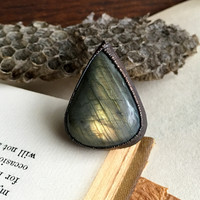 Size 7.75 - Labradorite Ring - Oxidized Electroplated Copper