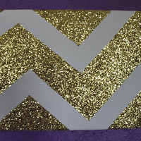 Gold Chevron Canvas Painting