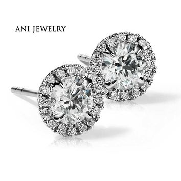 18KT White Gold 1.6 CT Certified I/S1 Real Natural Diamond Luxury Round Halo Stud Earrings