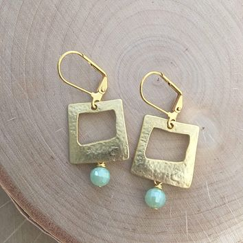 Gold Square and Glass Crystal Earrings