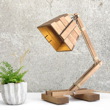 Kran IX, adjustable desk lamp lighting wood reading working module simple minimalist minimal wooden home office decor ethno, Paladim