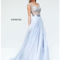 Sherri Hill 11151 Silver Dress: Long, High Neck