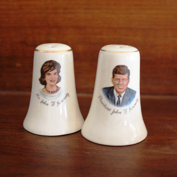 Rare Vintage JFK and Jackie Kennedy Salt and Pepper Shakers