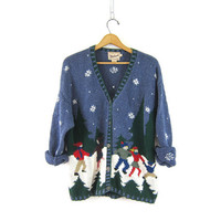 Christmas sweater cardigan Ice Skating Holiday sweater Cute or Ugly Christmas sweater Cabin Snow Snowflakes women's size Large