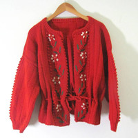 Vintage 70s red orange knit cardigan sweater // handmade chunky knit sweater // womens size s-m-l