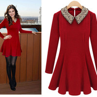 Bling Shiny Collar Long Sleeves Solid Color Pleated Dress