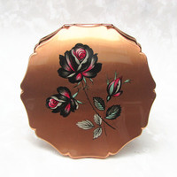 Powder Compact, Stratton Powder Compact, Stratton Compact, Mirror Compact, Compact, Rose Gold, Roses, Flowers, Floral, Convertible - 1960s