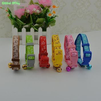2 Sizes 6 Colors Stars Pattern Nylon Small Lace  Dog Cat Pet Collar Strap with Bells