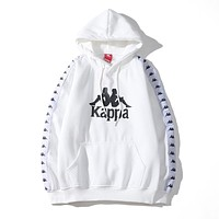 Kappa 2019 new string logo long sleeve hooded sweater white