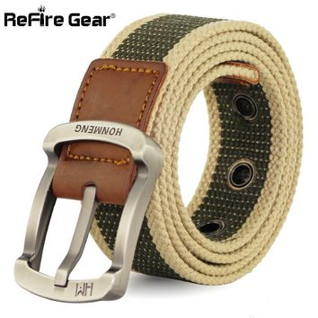 ReFire Gear Military Style Army Tactical Belt Men Big Metal Pin Buckle Adjustable Belt for Male Casual Canvas Strap Webbing Belt