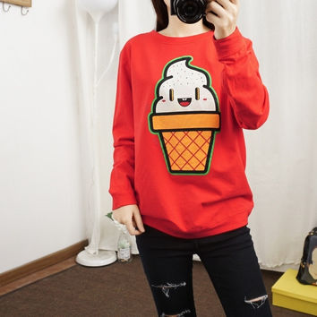 Cute ice cream sweater thin section