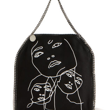 STELLA MCCARTNEY BLACK FABRIC FALABELLA TOTE BAG EMBELLISHED WITH WHITE FACE DESIGNS FROM THE ENGLISH ARTIST GARY HUME
