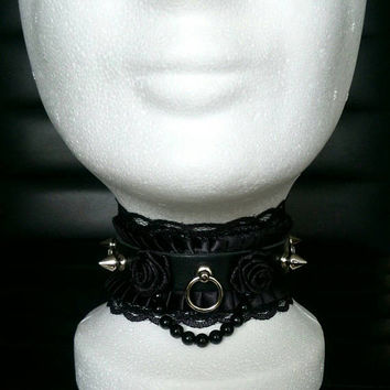 Gothic Lolita Collar Black Rose