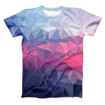 The Blue Red Purple Geometric ink-Fuzed Unisex All Over Full-Printed Fitted Tee Shirt