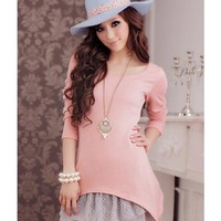 Pink Women Long Sleeve Scoop Autumn New Style Korean Style Fashion Slim Two-pieces Cotton Dress S/M/L @WH0405p $20.99 only in eFexcity.com.
