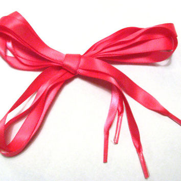 "Bright Fuchsia Pink Satin Ribbon Shoe Laces - 55"" Tennis Shoelaces - Bright & Shiny Cuteness"