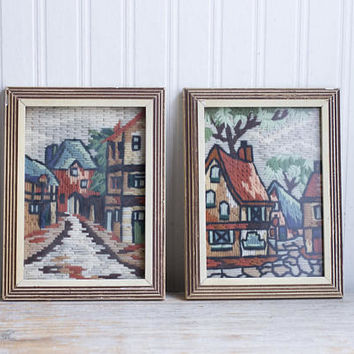 Vintage Needlework, Framed Needlepoint, Old Town Neighborhood, Tuscan City Streets, Charming Streetscape, Rust Orange Blue Green