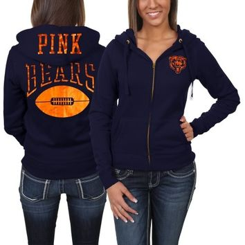factory price 8f933 8c4e2 Victoria's Secret PINK Chicago Bears Ladies Bling Full Zip Hoodie - Navy  Blue