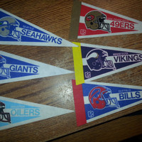"Vintage 90s Lot of 6 Small 9"" NFL Pennants"