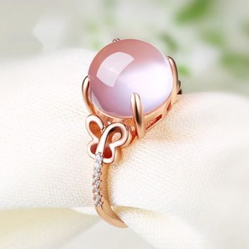Pink Stone Rings Jewelry For Women Butterfly Seting Adjustable Hollow Style Clear Crystal Accessory Rings For Wedding Party Gift
