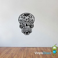 Flower Skull Wall Decal Sticker SKU0292