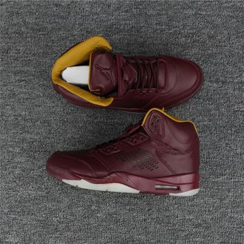 nike air jordan 5 retro aj5 wine red men basketball shoes-1