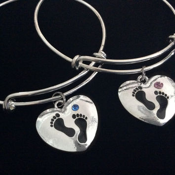 It's A Boy It's a Girl Baby Footprints Silver Expandable Charm Bracelet Pink Blue Adjustable Wire Bangle New Mom Gift