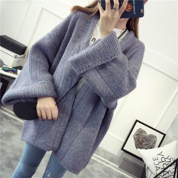 Autumn Winter V Neck Thick Knitwear Fashion Women's Clothing Cardigan Sweater Solid Color Flare Sleeve Loose Sweater Coat