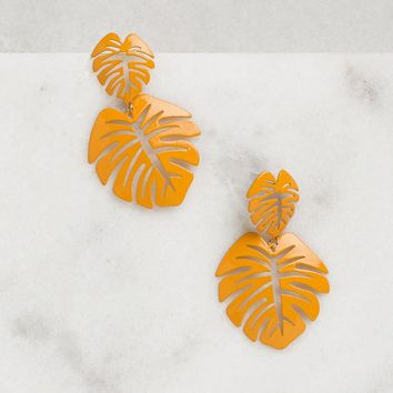 Oasis Mustard Monstera Leaf Earrings