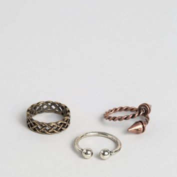 ASOS Ditsy Rope Effect Ring Pack