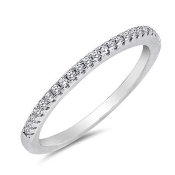 Sterling Silver AAA Quality CZ Half Eternity Ring