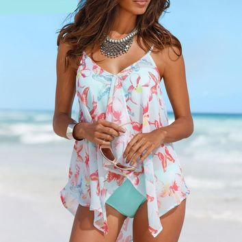 Floral Butterflies Bandage Tankini Women Swimwear Bathing Suit Swimsuits  Cover Up
