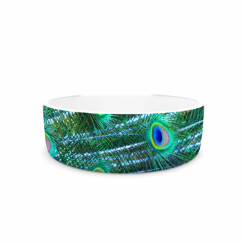 "Susan Sanders ""Teal Blue Peacock Feathers"" Photograph Pet Bowl"