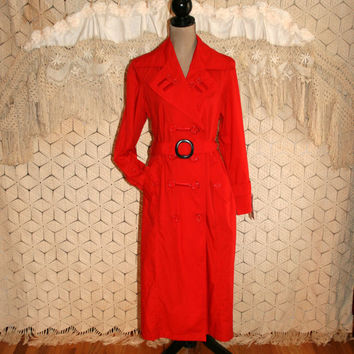 Long Raincoat Duster Coat Red Rain Coat Red Trench Coat Belted Trenchcoat Spring Clothing NWT Outerwear Small Medium Vintage Womens Clothing
