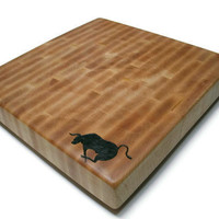 "End Grain Personalized Cutting Board -  Custom Image - Maple 14""x14""x2"" with Feet"