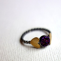 Purple Drusy Ring with Brass Hearts on by RachelPfefferDesigns